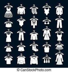 Clothes icon set, vector collection