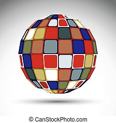 Bright abstract spherical object, 3d imaginative sphere...