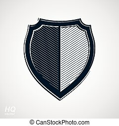 Vector grayscale defense shield, protection design graphic...