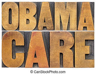 obamacare typography in wood type