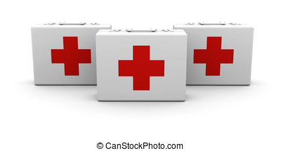 First aid cases - 3D rendered Illustration. Isolated on...