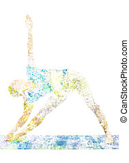 Double exposure image of woman doing yoga asana - Nature...