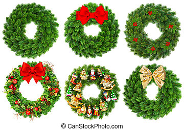 christmas wreath undecorated and decorated with ornaments,...