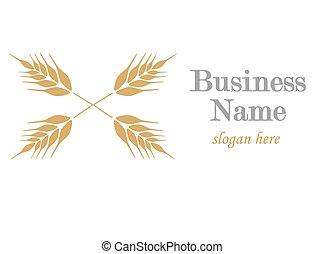 Logo with ear of wheat - vector illustration.
