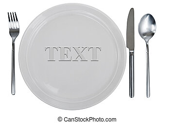empty plate, fork, spoon and table-knife - empty kitchen...