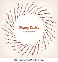 Easter card. Willow twigs and bow painted in watercolor. A...