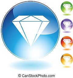 diamond jewel crystal icon - diamond jewel isolated on a...