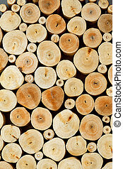 Wooden logs - Close up of a background made of wooden logs