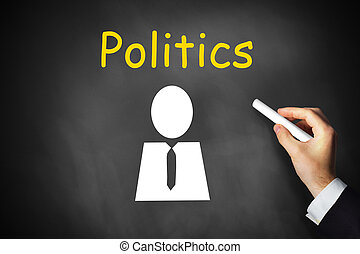 hand writing politics on black chalkboard - businessmans...