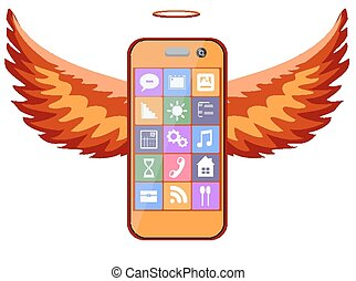 Mobile phone with wings, vector - Mobile bright orange phone...
