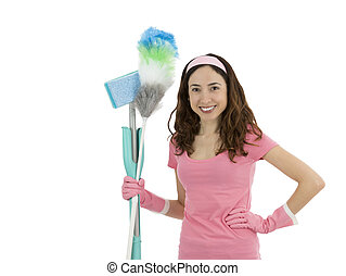 Cleaning lady - Friendly cleaning woman holding cleaning...