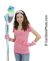 Housewife with cleaning tools