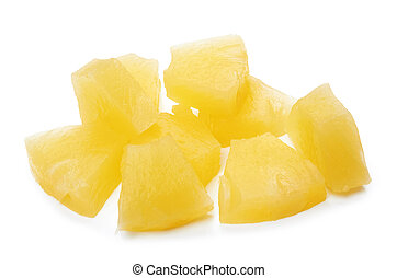 pineapple - chunks of canned pineapple on white background