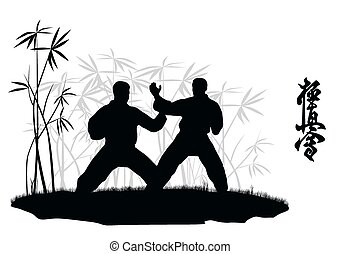 Two men are engaged karate, an illustration