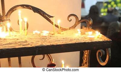 Candles burning in Catholic Church on Easter Sunday....