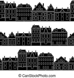 Houses Vector seamless pattern vintage. template for...