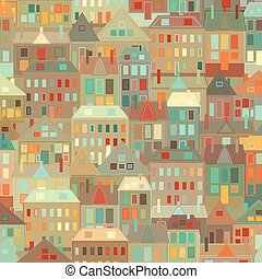 Night city Vector background vintage houses.