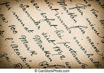 vintage paper background with vignette old handwritten text...