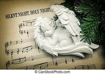 sueño, angel., silencioso, noche, santo, noche,