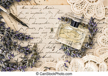 perfume, lavender flowers, vintage ink pen and old love...