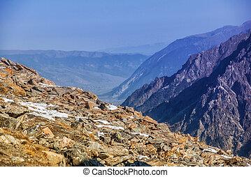 Dombai. Scenery of rockies in Caucasus region in Russia -...