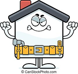Angry Cartoon Home Improvement - A cartoon illustration of a...