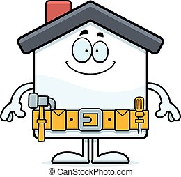 Happy Cartoon Home Improvement - A cartoon illustration of a...