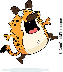 Cartoon Hyena Jumping - A happy cartoon hyena jumping and...