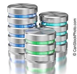 Hard disk drive data storage database icon symbols isolated...