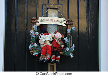 Merry Christmas decoration on front door