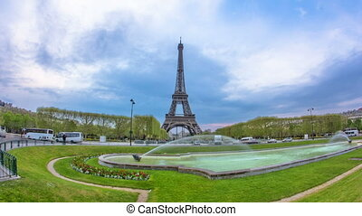 Eiffel Tower with central perspective with fountain timelapse hyperlapse.