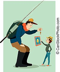 Family fishing in a digital age - Man in outdoors clothes,...