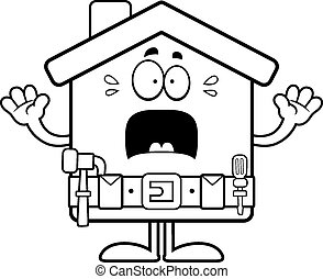 Scared Cartoon Home Improvement - A cartoon illustration of...