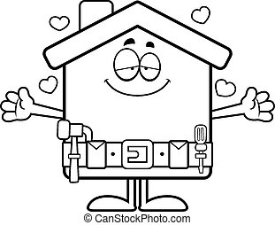 Cartoon Home Improvement Hug - A cartoon illustration of a...