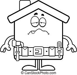 Sick Cartoon Home Improvement - A cartoon illustration of a...