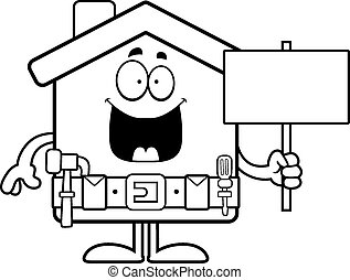 Cartoon Home Improvement Sign - A cartoon illustration of a...