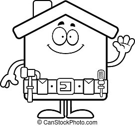 Cartoon Home Improvement Waving - A cartoon illustration of...