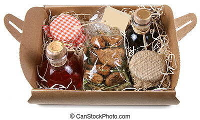 food gift - Food gift composition with liquor, jams and figs...