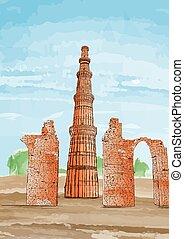 Hand Drawn Qutub Minar, New Delhi, India - Vector...