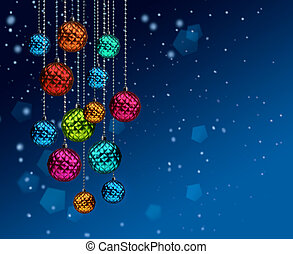 Colorful Christmas balls blue snowfall