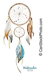 Dreamcatcher - Beautiful vector image with nice watercolor...