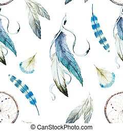 Dreamcatcher - Beautiful vector pattern with nice watercolor...
