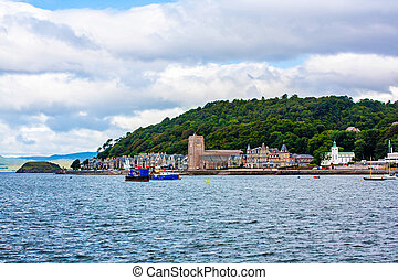 Panorama of Oban, a resort town within the Argyll and Bute...