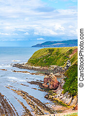 Berwickshire Coastal Path, view on the Cove Bay, Scotland, UK