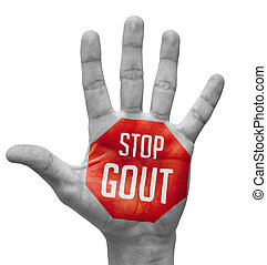 Stop Gout Concept on Open Hand. - Stop Gout Sign Painted -...