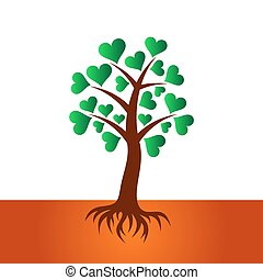 Tree with heart leaves and roots