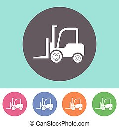 Forklift truck icon - Vector forklift truck icon on round...