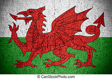 flag of Wales or Welsh banner on rough pattern texture