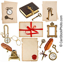 antigüedad, reloj, llave, foto, Álbum, pluma,...