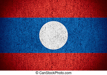 flag of Laos or Lao banner on rough pattern texture